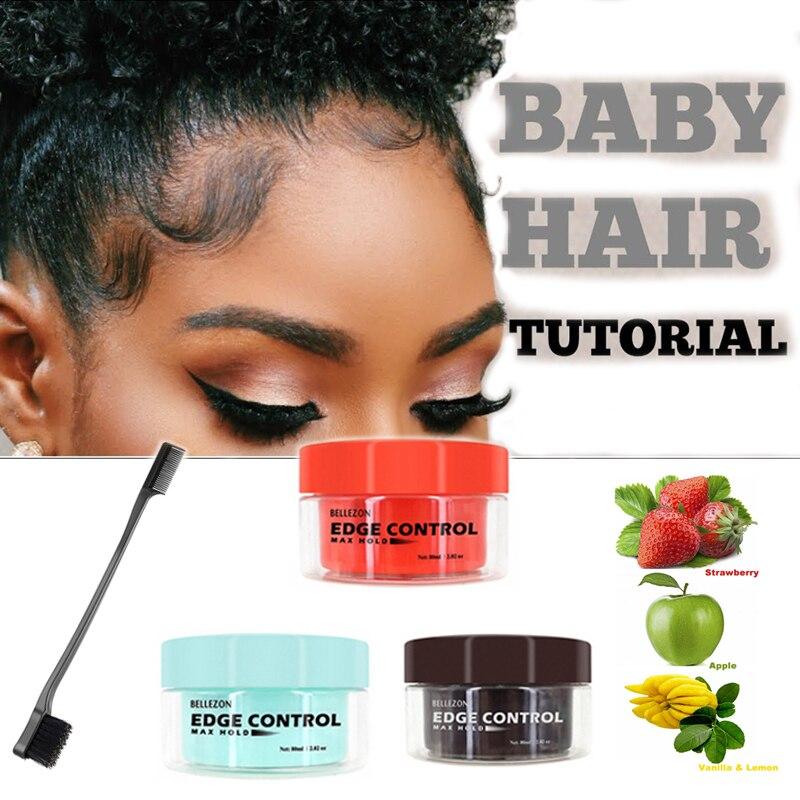 Hair Edge Control Cream Gel Baby Hair Super Sleek Max Hold Long Lasting Waterproof Hair Oil Wax Blac