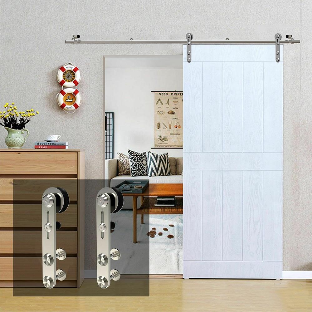 Gifsin 4-9.6FT Round -Shaped Silver Stainless Steel Puerta Corredera Wooden Sliding Door Hardware Kit for Single Door