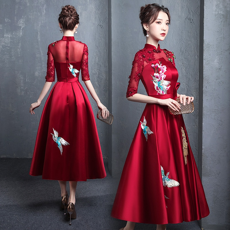 Buegundy-فساتين حفلات مطرزة على الطراز الشرقي ، فساتين سهرة أنيقة على الطراز الصيني التقليدي ، شيونغسام