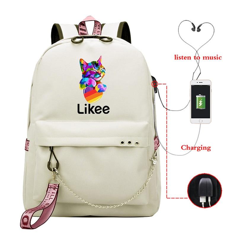 Le gusta mochila de carga USB le gusta Aplicación de Video portátil mochila bolso de escuela para chicos adolescentes niñas 2020 ruso estilos cremallera mochila