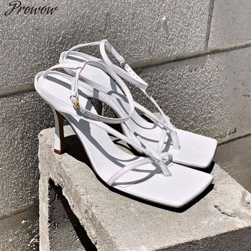 Prowow   Gladiator Sandals  Luxury Brand Designer Shoes Women  Square Head Open Toe Strappy Sandals Women Sexy Thong Stiletto