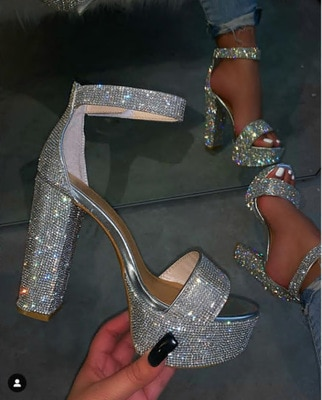 RIBETRINI New INS Hot Female Party Shining Shoes Woman Fashion Wedding Crystal Sandals Women Summer High Heels Evening Sandals