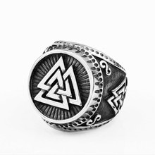 Anillo Punk para hombre del norte de Europa vikingo Odin triángulo símbolo poder gráfico Vintage anillo hombre joyería gótica de lujo Ring Boho