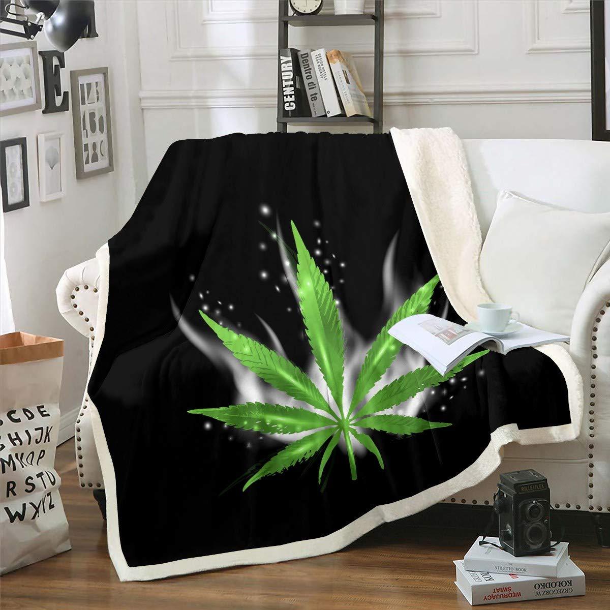 Blatt Fleece Decke für Sofa Bett Couch Unkraut Blatt Plüsch Decke Chic Smoky Blätter Sherpa Decke Grün