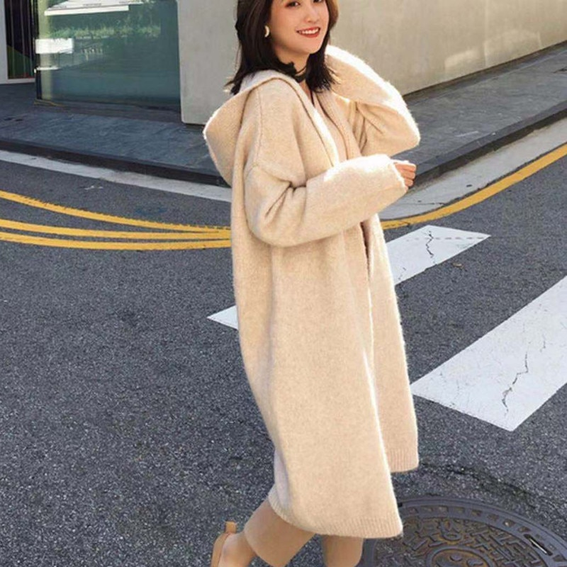 Shuchan Long Cardigan Autumn Winter Hooded New 2021 Streetwear Open Stitch Fashion New Spring/Autumn Sweater Knitted enlarge