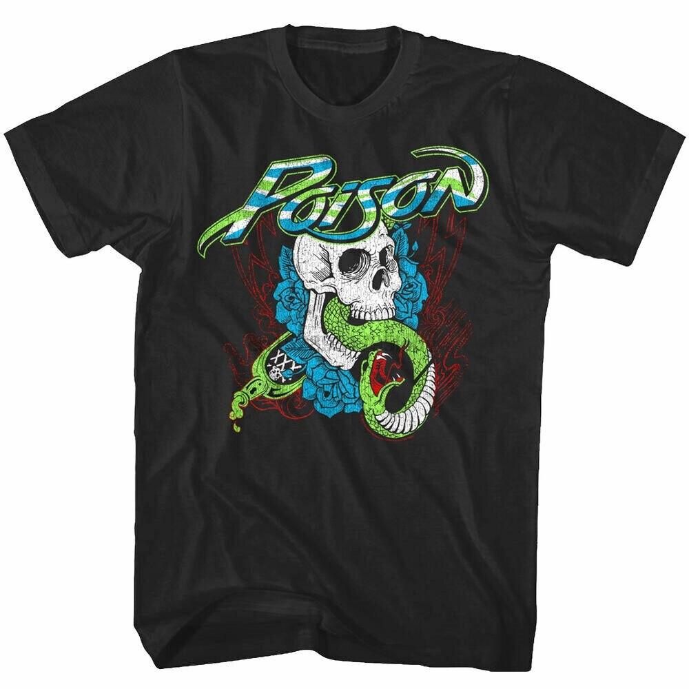 Camiseta oficial del hombre de las rosas del cráneo de la serpiente del veneno banda de Rock del Metal