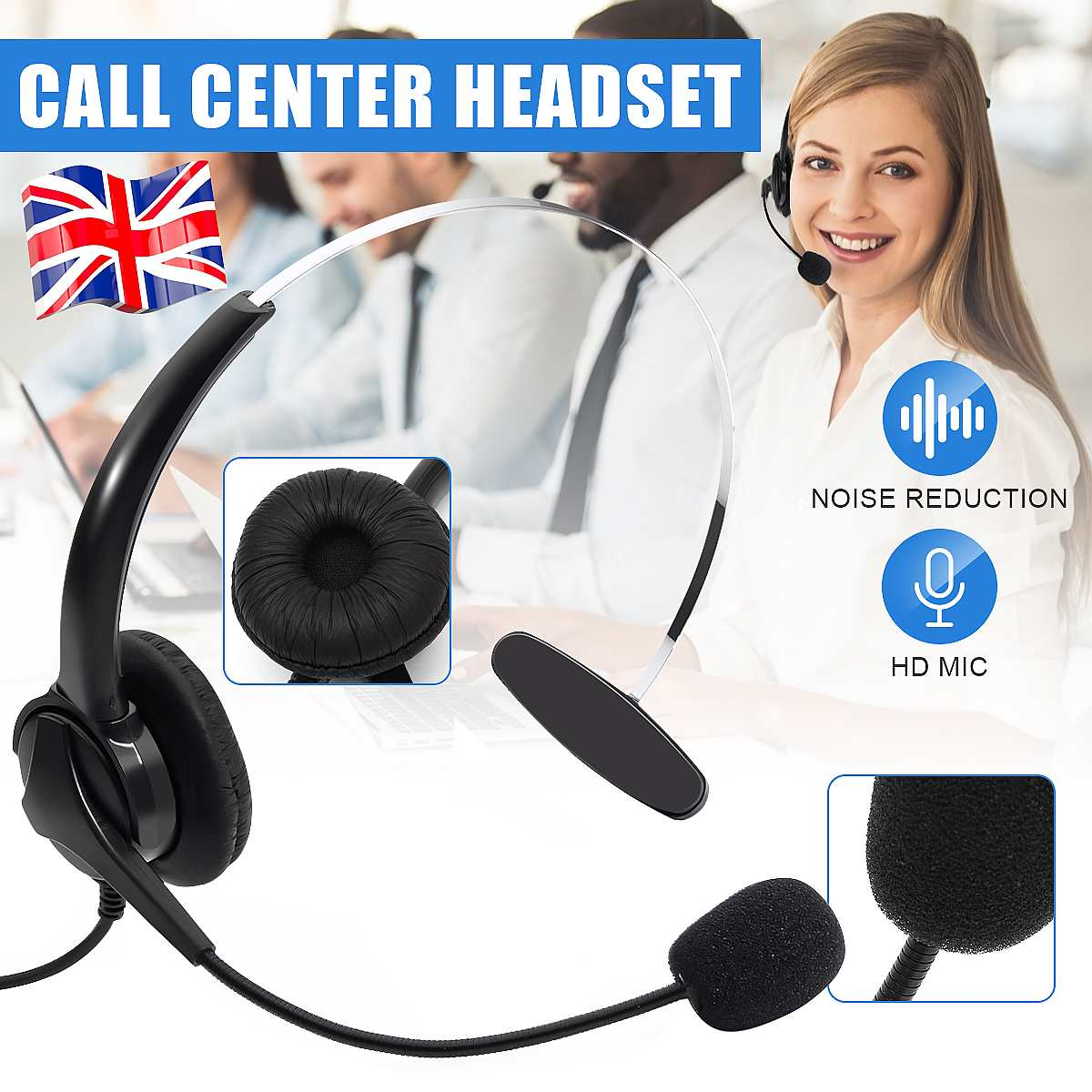 RJ11 Telephone Headset With Microphone Noise Cancelling Interphone Adjustable Microphone Earphone Headphone For Call Center
