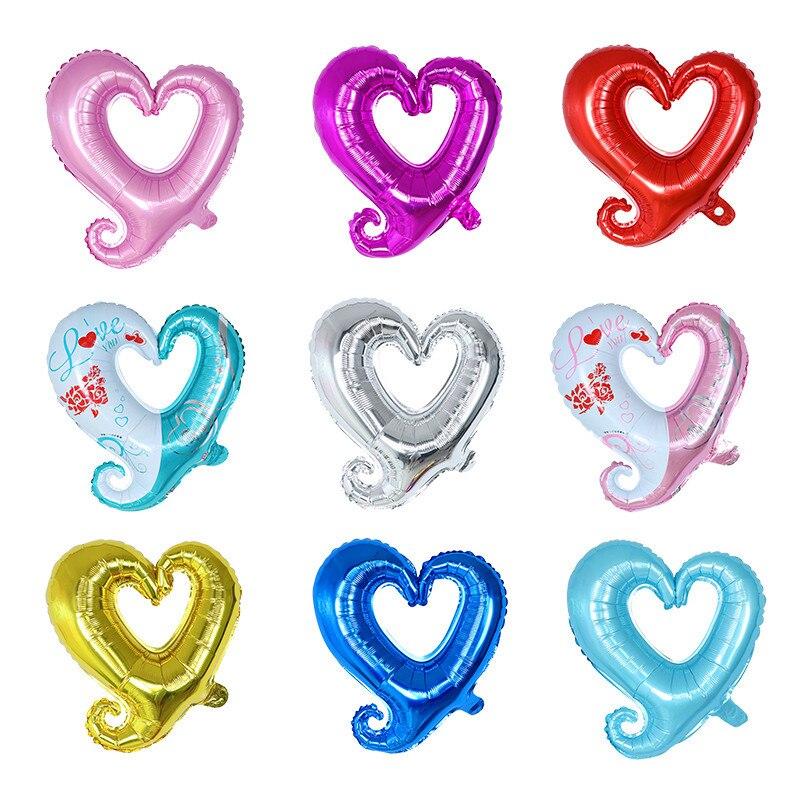 50 pçs/lote 18 polegada Gancho Coração-Em Forma de Balões De Hélio Balão de Casamento Suprimentos Decoração da Festa de Aniversário do Dia Dos Namorados Coração folha