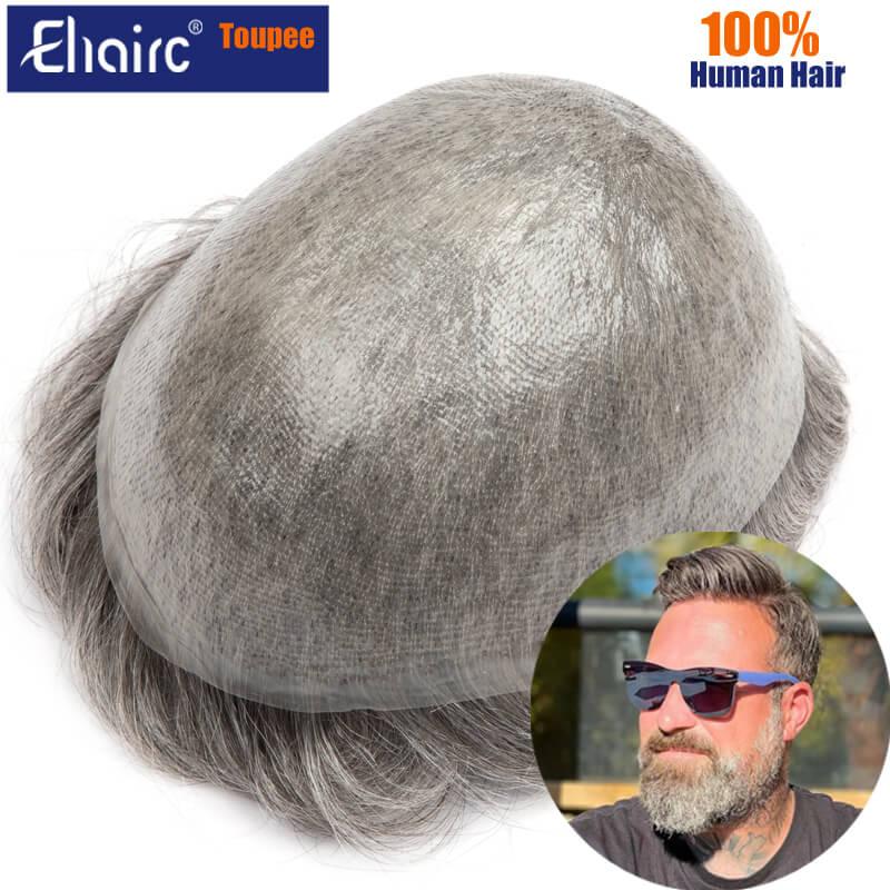 Toupee For Men Ultra-Thin Skin 0.03MM Men's Hair Toupee System Unit Full Men Wigs 100% Natural Human Hair Male Hair Prosthesis