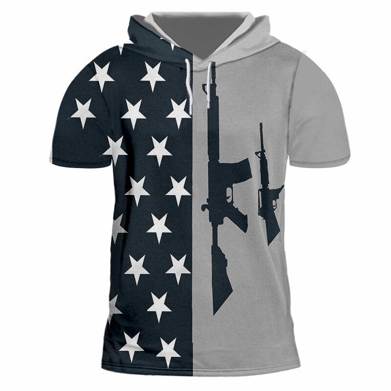 M4 gun 3D impresión hombres con capucha camiseta Cool Streetwear camiseta Top moda hombres mujeres manga corta con capucha camiseta personalizada S-7XL