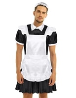 men adult sissy maid cosplay costume outfit turn down collar puff sleeve front button down dress with apron and headband set
