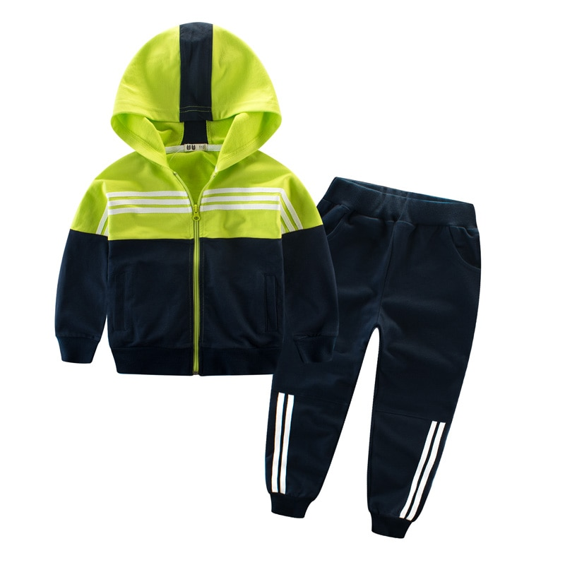 Conjunto deportivo para niños, ropa de Abrigo con capucha, pantalones a rayas de retazos, ropa activa para primavera y otoño, traje de 4 5 6 7 8 9 años