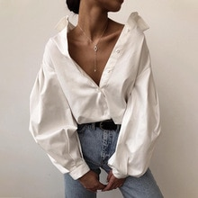 Big Lantern Sleeve Blouse Shirt Single Breasted Fashion Button Female Loose Spring Autumn Street Fem