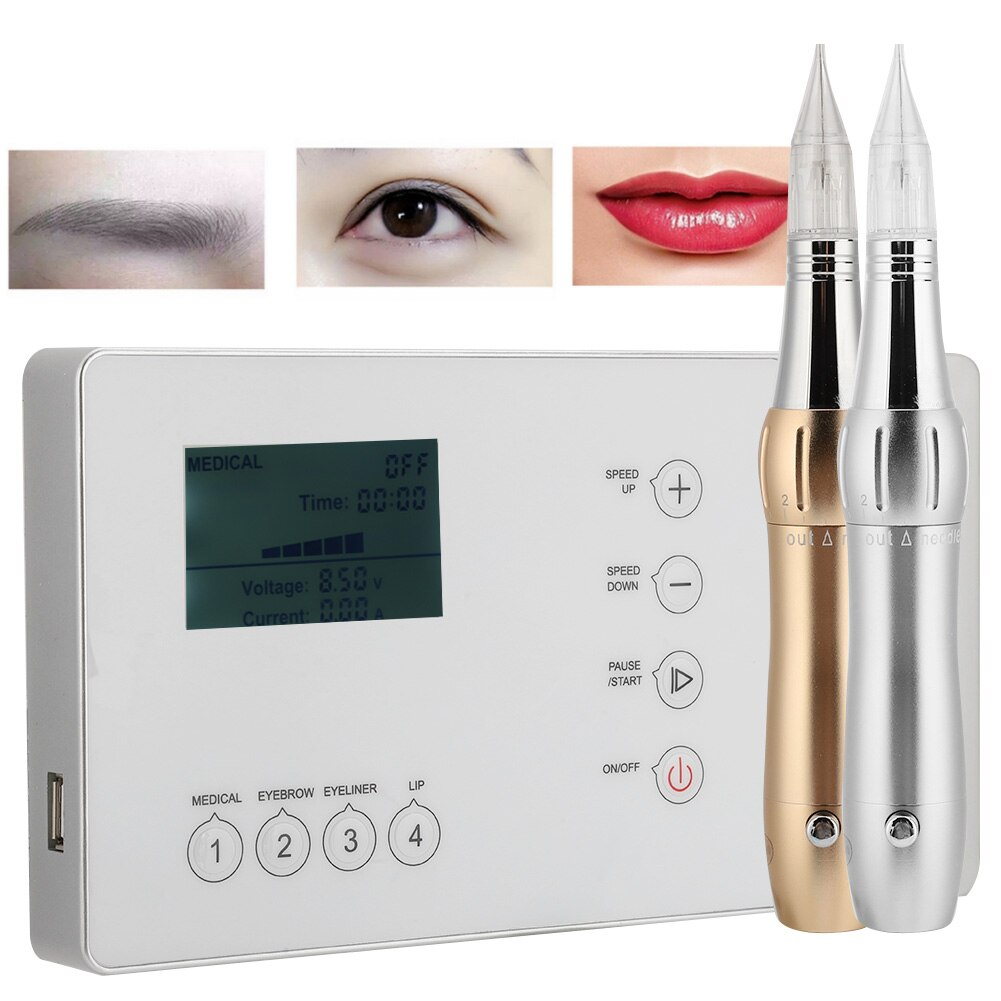 MTS Electric Coreless Tattoo Machine Semi-Permanent Fog Eyebrow Eyeliner Drift Lip Tattoo Beauty Instrument US Plug 100-240V New