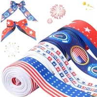 4 rolls independence day ribbons american stars and stripes