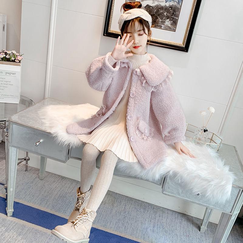 2021 Autumn Winter Children Faux Fur Coat Baby Turndown Collar Thicken Warm Jacket Girls Overcoat Kids Girls Casual Outwear D97 enlarge