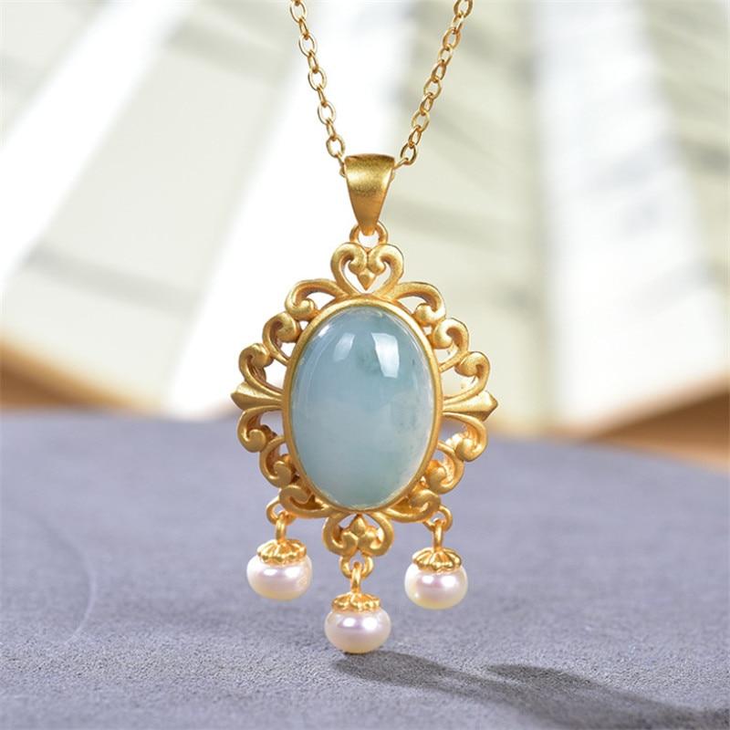 Colares de esmeralda da ágata + correntes 925 garland de prata jóias do vintage colar de pérolas naturais de borlas uglyless pingentes para as mulheres