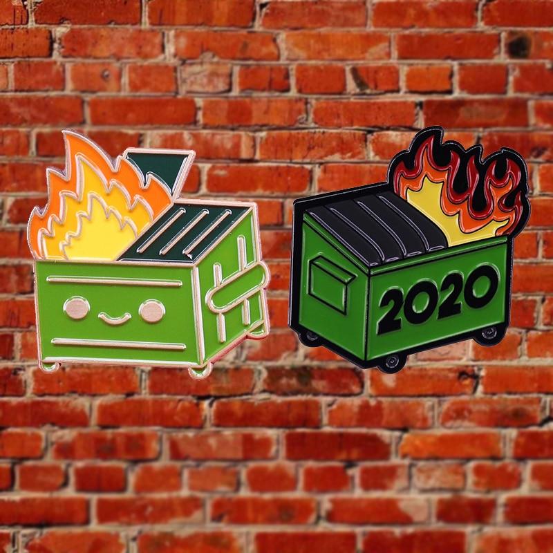 Death Devil мусорный контейнер огонь 2020 значок корзина для мусора огонь страшный год, брошь на шпильке