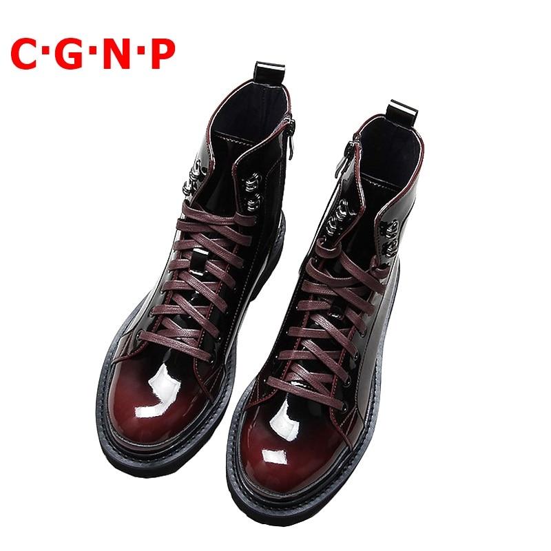 C · G · N · P ربيع الخريف مارتن الأحذية الرجال براءات الاختراع والجلود عالية أعلى الدانتيل متابعة حذاء كاجوال تنفس اليدوية رجالي حذاء من الجلد