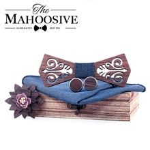 Mahoosible деревянные галстуки-бабочки papion man boda coffret cadeau homme модель с вырезами и синим платком запонки