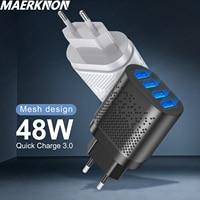 4 порта USB зарядное устройство Quick Charge 3,0 для iphone 12 11 pro max Samsung Xiaomi redmi Адаптер зарядного устройства для смартфонов быстрой зарядки телефона