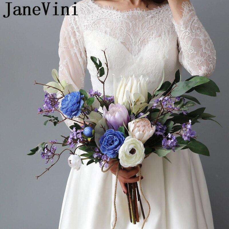 JaneVini Ramo De flores De boda azul púrpura Ramo De flores De seda Artificial elegante broche De la flor del Emperador De la Novia Buquet
