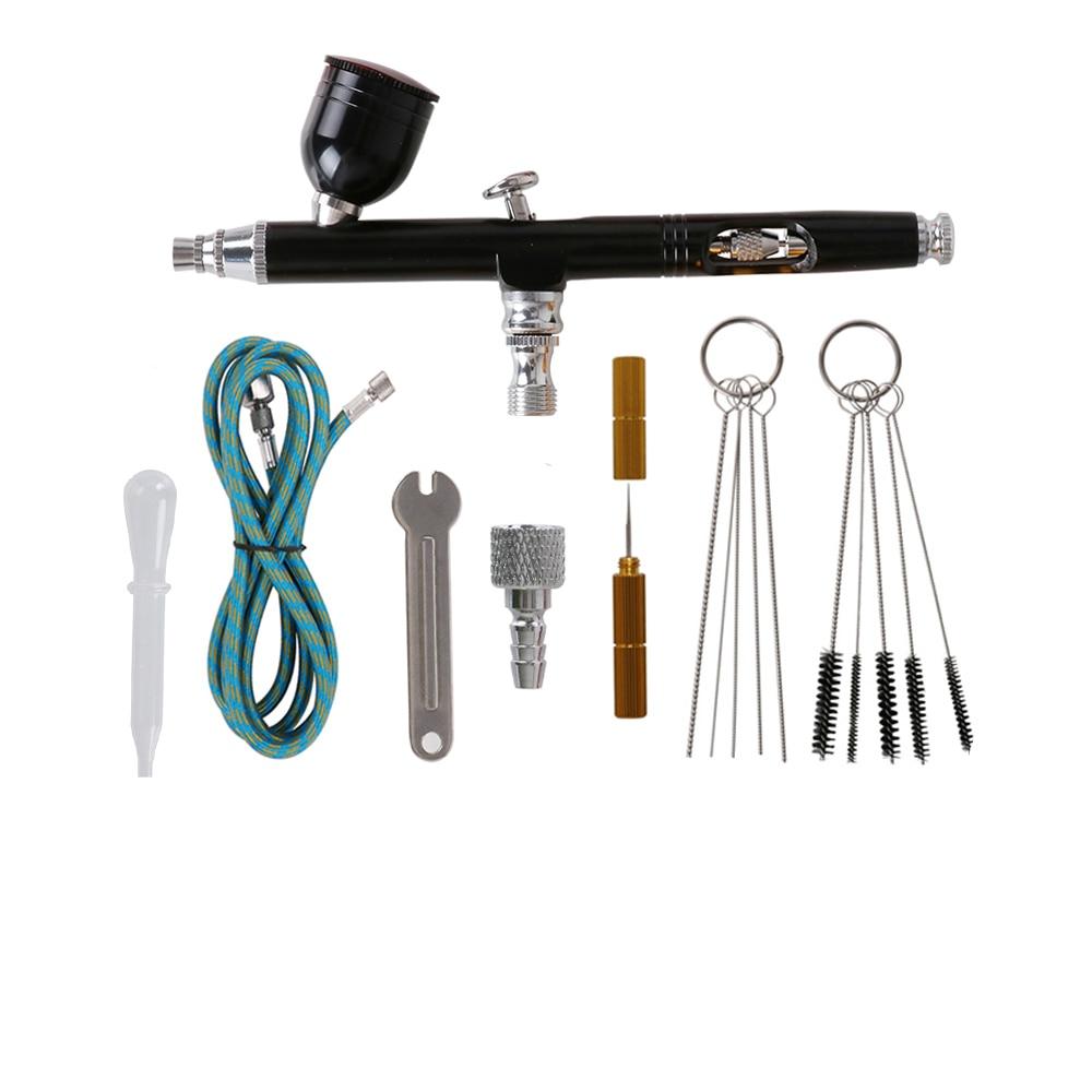 0,3mm cepillo de aire Spray Kit de pistola de doble acción aerógrafo negro 7cc taza para tinta pintura herramienta de limpieza negro herramienta manguera