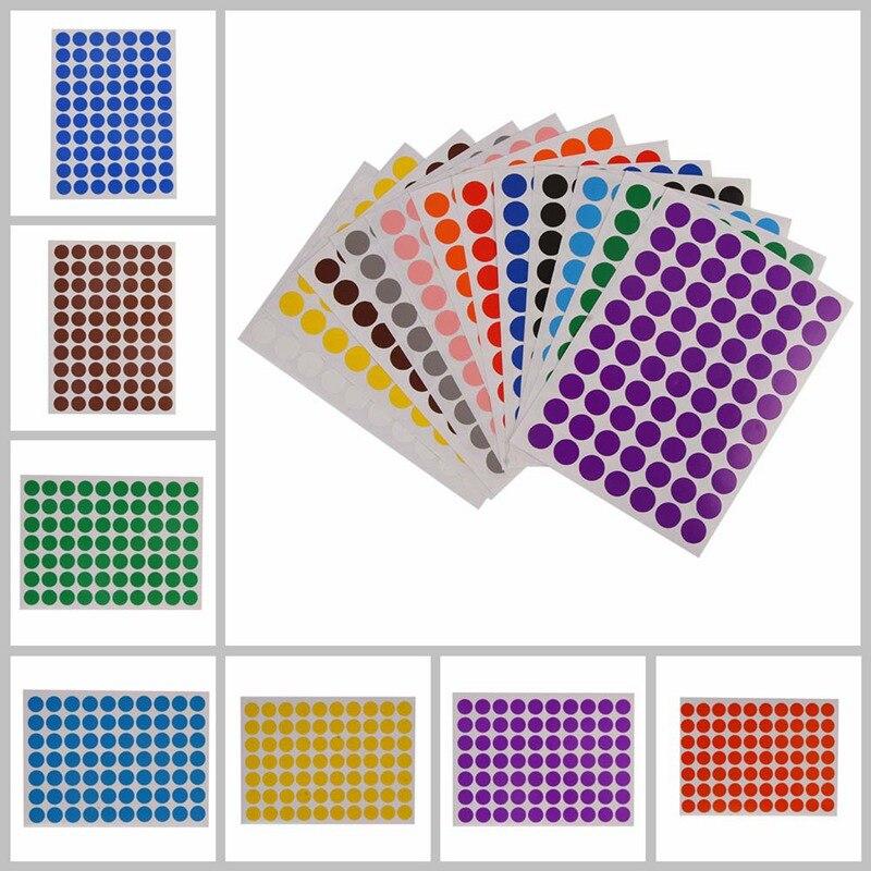 12 листов/упаковка, круглые наклейки для детей, 10 мм