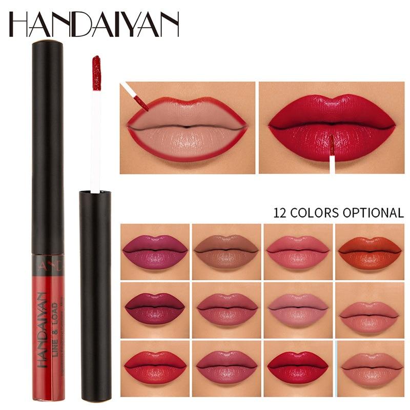 12 unids/lote HANDAIYAN 12 colores mate líquido lápiz labial impermeable de larga duración brillo de labios Sexy tinte de labios pigmento cosméticos maquiagem