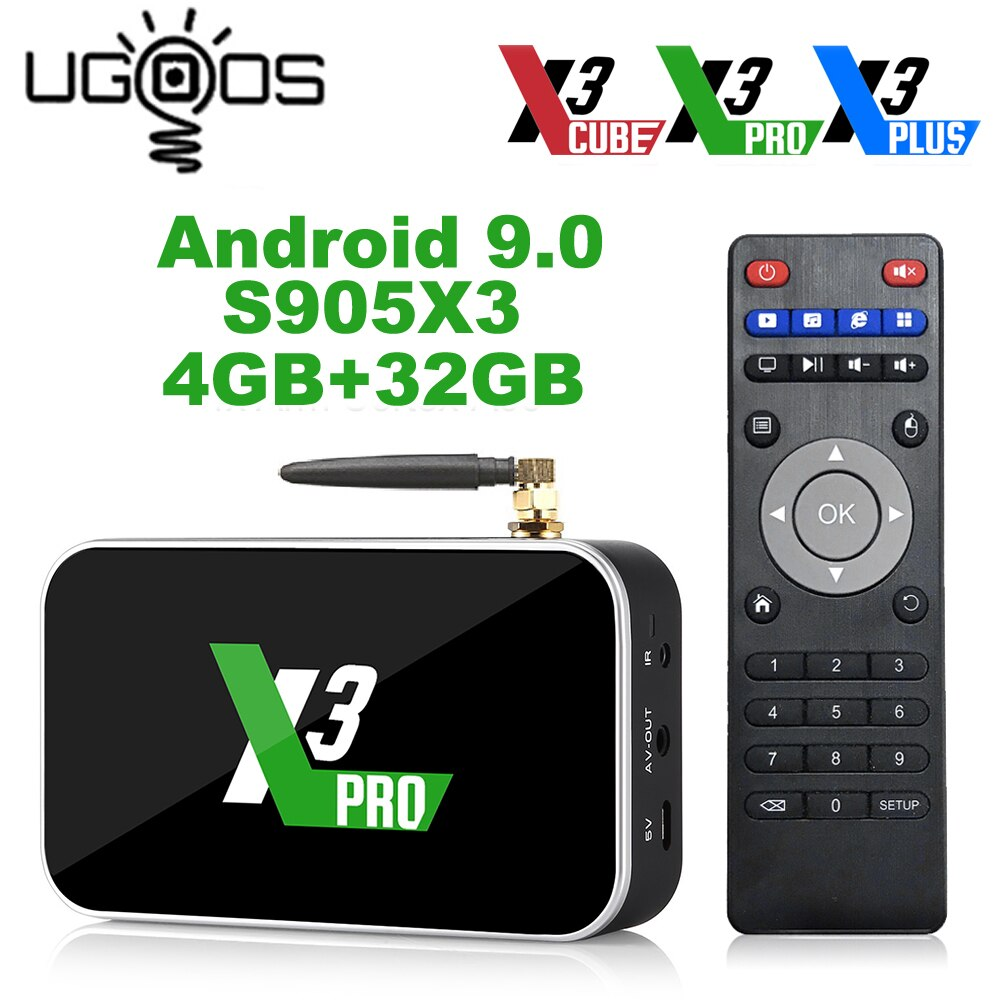 Ugoos X3 Pro 4GB RAM 32GB DDR4 Amlogic S905X3 Smart TV Box Android 9.0 Dual WiFi 1000M 4K X3 Cube 2G