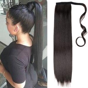 Belle Show Синтетические прямые длинные накладные удлинители волос для конского хвоста термостойкий синтетический накладной хвост