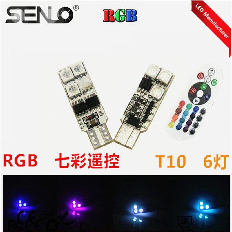 Livre de erros novo produto rgb t10 canbus luzes led t10 w5w 168 194 w5w 6smd para automóveis 12 v carros cores mudando pelo controlador