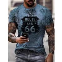 summer new style route 66 american road 3dt shirt mens short sleeved t shirt top o neck t shirt men oversized t shirt