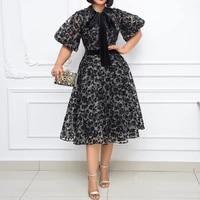 plus size 2021 cocktail dresses summer black floral print vintage vestidos classy women bow knot a line work wear office dresses