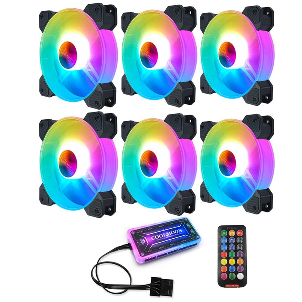 حافظة كمبيوتر 120 مللي متر ، مروحة ، هيكل RGB ، إضاءة ملونة قابلة للتعديل ، مشتت حراري صامت ، للكمبيوتر الشخصي ، 120 مللي متر