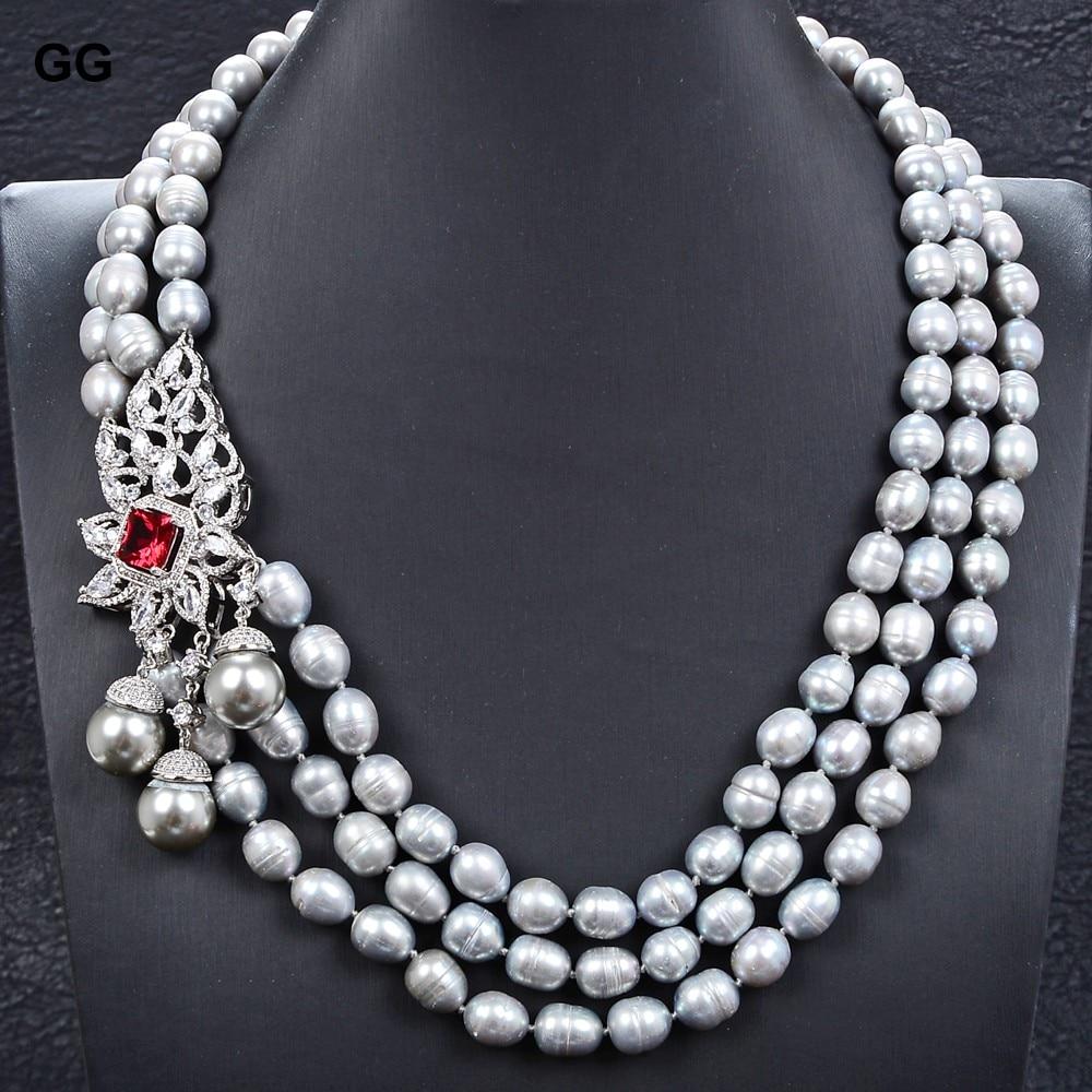 GG Jewelry-عقد من لؤلؤ الأرز الرمادي ، 3 خيوط ، قلادة ، صدفة البحر ، لؤلؤ تشيكوسلوفاكيا ، 22 بوصة