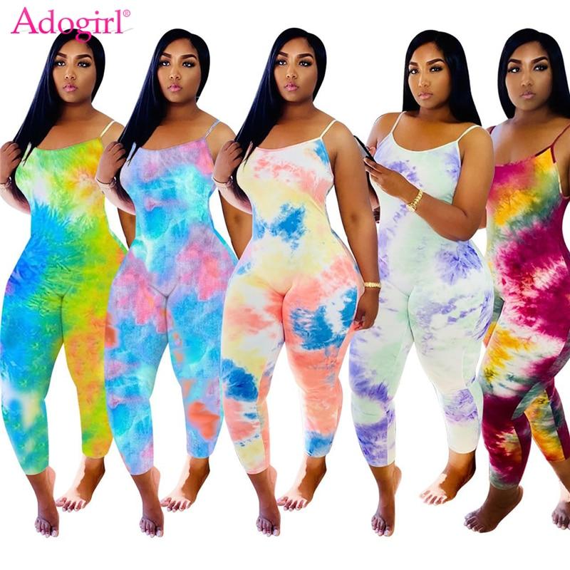 Adogirl Tie Dye Print Spaghetti Straps Jumpsuit Women Fashion Sexy Summer Romper Sleeveless Overalls
