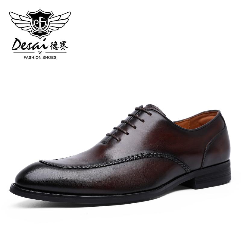Desai أحذية رجالي جلد طبيعي البريطانية تو منحوتة حذاء رسمي للرجال فستان كلاسيكي الزفاف الرسمي 2021 جديد