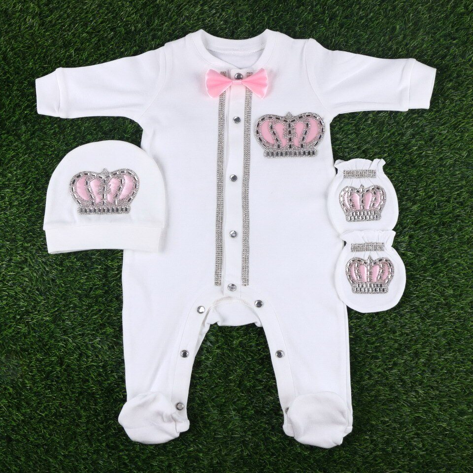 56 cm length white brand design crown with bow tie newborn baby girl boy infant rompers set footies jumpsuit colthes gift