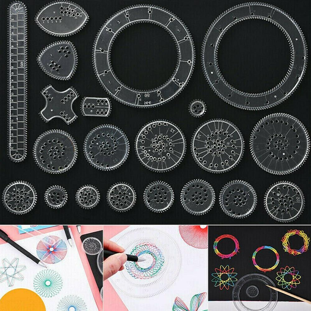 22pcs Spirograph Drawing Toys Set Interlocking Gears & Wheels Geometric Ruler Drawing Accessories Cr