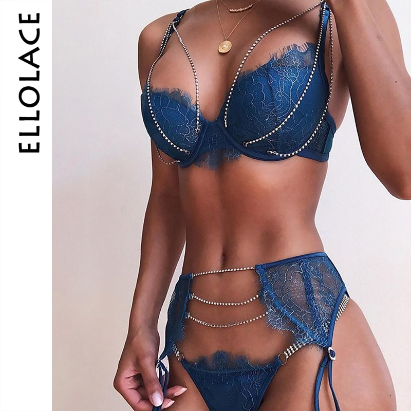 Ellolace Rhinestone Lingerie Women's Underwear Set Lace Sexy Lingerie Underwire Push Up 3 pcs Set Lingerie Set Bra and Panty Set
