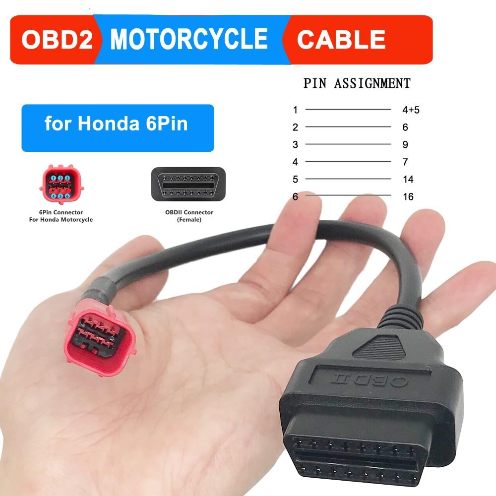 OBD мотоцикла тормозной трос сцепления для Honda 4 Pin/6pin разъем Диагностический кабель 4Pin для OBD2 16 pin адаптер