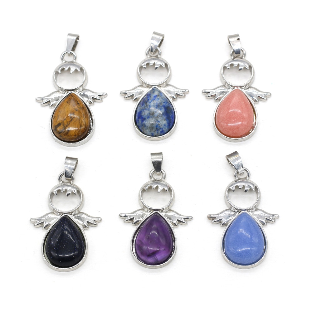 Natural Stone Amethysts Pendant Angel Shape Lapis lazuli Charms for DIY Necklace Earring Making Jewelry Findings Gift 24x35mm  - buy with discount