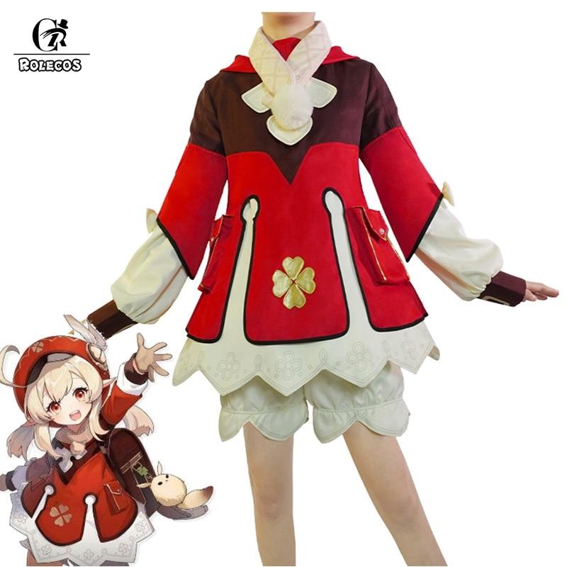 ROLECOS Genshin Impact Cosplay Costume Klee Cosplay Costume Women Red Costume Cute Girl Halloween Dress Pants Glove Hat Full Set hot naruto sai cosplay costume halloween costume full set