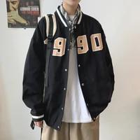 baseball streetwear jacket single breasted long sleeve autumn korean jacket casual loose ropa para hombre coat men de50jk
