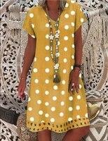 ladies clothing summer style european american womens short sleeved v neck polka dot printing mid length explosive dress we35