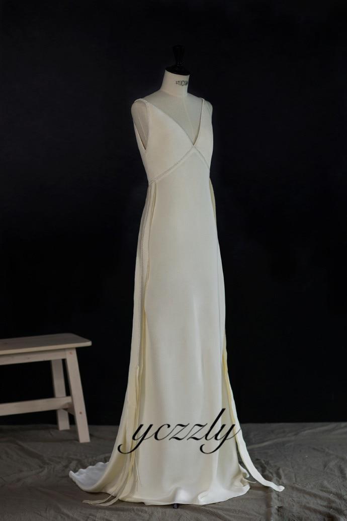 Vestido De Novia Bohemio Simple con cuello en V De seda playa...