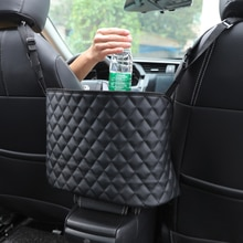 Large Capacity Bag Automotive Goods Storage Pocket Seat Crevice Net Car Handbag Holder Luxury Leathe
