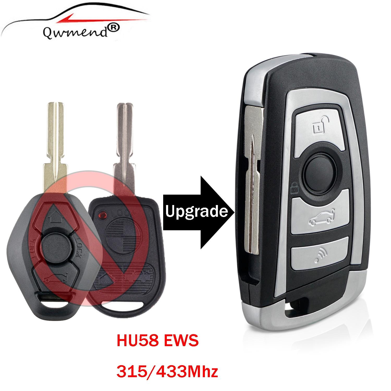 QWMEND modificado 3 botones 315/433MHZ llave remota para BMW EWS 325 330 318 525 530 540 E38 E39 E46 M5 X3 X5 ID44 PCF7935 CHIP HU58
