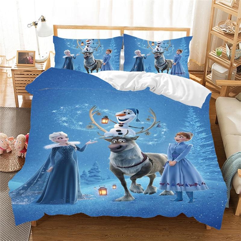Frozen Bedding Set Anna Elsa Queen King Size Bed Set Children Girl Duvet Cover Pillow Cases Comforter Bedding Sets